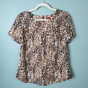 Merona Animal Print Short Sleeve Keyhole Blouse